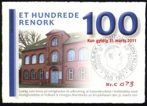 100 renork med billede af Foreningshuset på Jernbanevej i Holbæk.