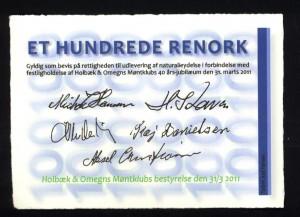 På bagsiden er sedlen underskrevet af foreningens daværende bestyrelse.